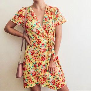 J. Crew Floral Print Yellow Wrap Dress - Size 4